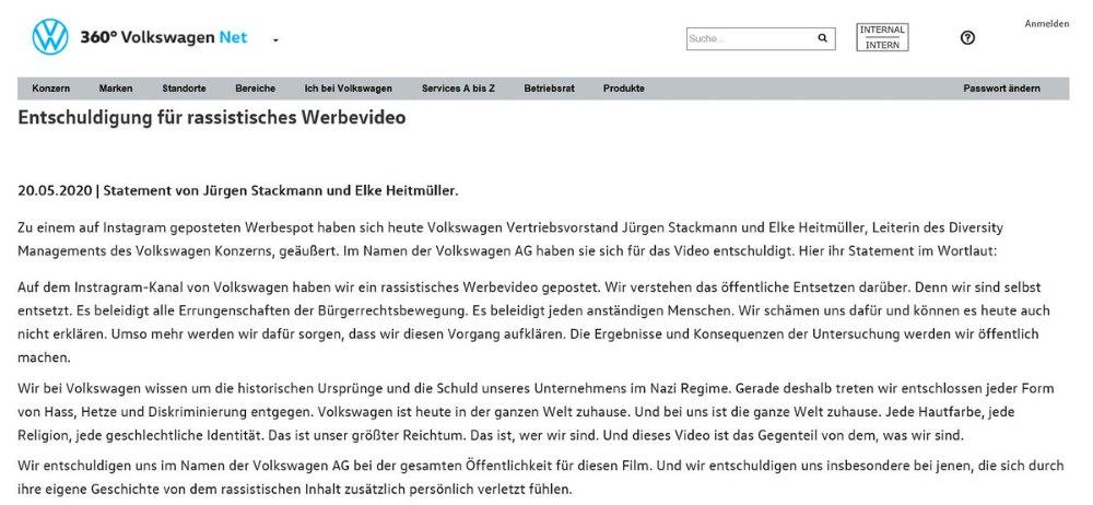 Volkswagen Stellungnahme ausfuehrlich