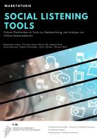 Studie Social Listening Tools HDA Darmstadt Cover