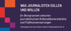 Was Journalisten sollen und wollen Leibniz Institut Bredow Insitut Cover quer