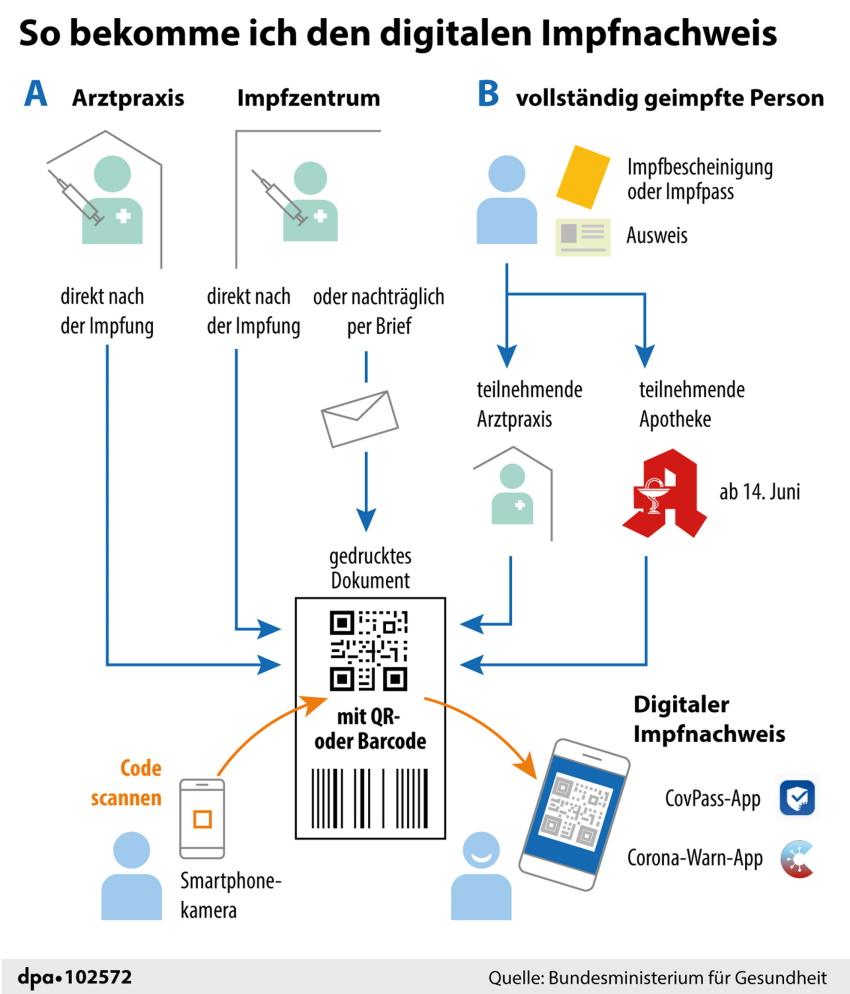 Globus Infografiken Beispiel 2021 digitaler Impfpass