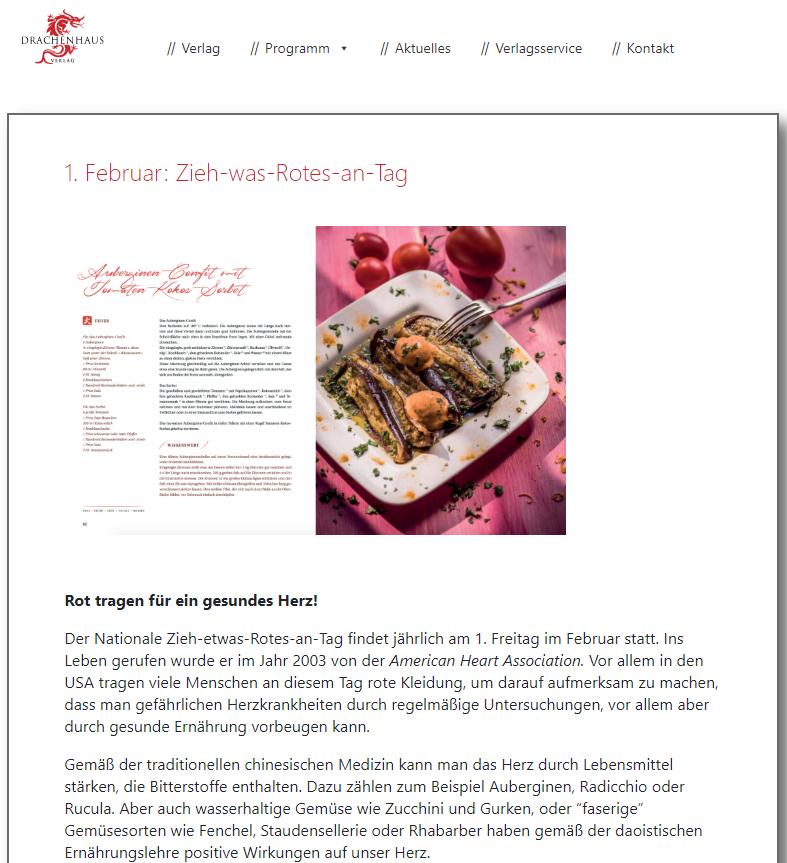 Zieh was Rotes an Tag HERZGESUNDHEIT Drachenhaus Verlag