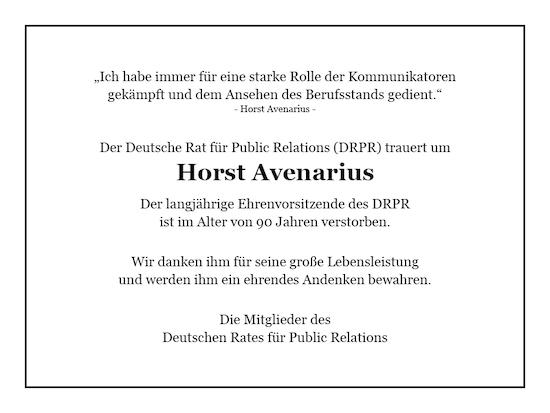 Todesanzeige Horst Avenarius 550x350mm