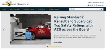 Euro NCAP Website Screenshot